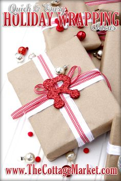Quick & Easy Holiday Gift Wrapping Ideas plus 4 fabulous bloggers ideas too!  A must see!