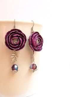 #Purple #earrings  Peonies  Fall earrings  Flower by #insoujewelry, $33.00