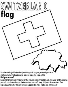 Amber on the Mountaon - Switzerland coloring page Switzerland Christmas, Switzerland Flag, Girl Scout Swap, Girl Scout Troop, Cub Scouts, Girl Scouts, World Friendship Day, Gs World, Swiss Flag