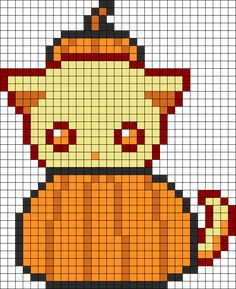 Cutie Pumpkin Kitty Perler Bead Pattern / Bead Sprite Tap the link for an awesome selection cat and kitten products for your feline companion! Melty Bead Patterns, Pearler Bead Patterns, Kandi Patterns, Perler Patterns, Beading Patterns, Pixel Pattern, Pattern Art, Perler Bead Art, Perler Beads