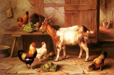 Famous Chicken Paintings | paintings of Goat and chickens feeding in a cottage interior by