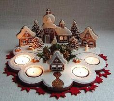 Simple way to have a gingerbread village, flat cookies in a scene with tealights Gingerbread Village, Christmas Gingerbread House, Christmas Sweets, Noel Christmas, Christmas Goodies, Christmas Baking, Gingerbread Cookies, Christmas Crafts, Christmas Decorations