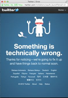 "Twitter ""Something is technically wrong."""