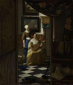 Johannes Vermeer | The Love Letter, Johannes Vermeer, c. 1669 - c. 1670 | Voorstelling bekend als 'De liefdesbrief'. Gezicht door een openstaande deur naar een interieur waarin een dienstmaagd een brief overhandigt aan een jonge vrouw met een luit op schoot. Tegen de achtermuur twee schilderijen met een landschap en een zeegezicht. Op de voorgrond twee sloffen, een bezem en een stoel.