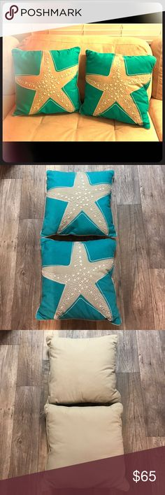 PERFECT PAIR Beaded Aqua Starfish Pillows 16x16 I'm selling a PERFECT PAIR of beaded aqua starfish pillows in size 16x16! These pillows are in like-new condition, and were never used once the tags were taken off. These beautiful turquoise pillows feature tan starfish with beaded detailing. These would look wonderful on a couch, or to coordinate with bedding! Pier One Imports Other
