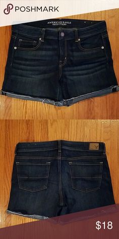 Midi shorts, American Eagle These dark shorts are described by American Eagle as having a super stretch that I 100% stand by. These very comfortable shorts are about mid thigh length and are a mid rise waist Bundle items and I'll send you an offer! American Eagle Outfitters Shorts Jean Shorts