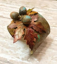 Autumn cuff with rich color by Judy Jones King, components from B'sue Boutiques.