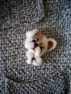 Купить Брошь валяная Щенок (шерсть) - коричневый, белый, щенок, собака, валяная собака