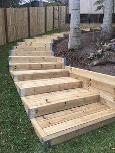 Pallet Wooden Satires Slope In 2019 Garden Steps Garden Stairs Sloped Backyard, Sloped Garden, Backyard Patio, Backyard Landscaping, Landscaping Ideas, Landscape Stairs, Landscape Design, Landscape Bricks, House Landscape