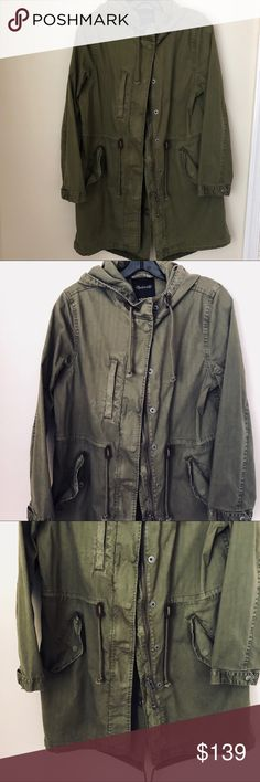 "Madewell army green cotton jacket, size s Madewell army green cotton jacket, size s  Barely worn, probably twice  It is such a wardrobe staple for spring and fall. Classic look and great quality.  Shoulder to shoulder 15.5""  Pit to pit 20""  Arm length 33""  Shoulder to bottom hem 32"" in front, 34"" at back.  Please ask any questions that you may have and bundle to save! Thanks for browsing my closet! Madewell Jackets & Coats"