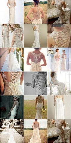 Lace Back Wedding Dresses - I probably can't wear anything like these, bc I need support for my bust, but I just love how they look.