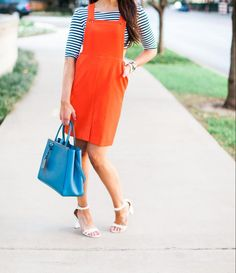 How to style a jumper l Orange & Blue l Stripes l Fashion Blogger Fitness & Frills