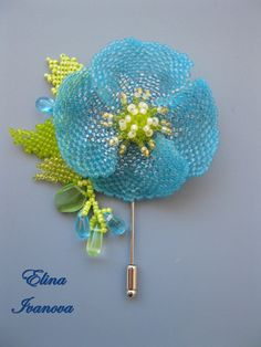 Beaded flower blue poppy brooch nature fashion 2017