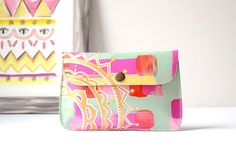 Hand Painted Leather Phone Case Wallet Small Wallet Clutch
