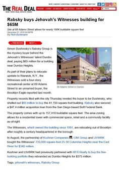 Another cult lot bites the dust. Jw News, Real Estate News, Jehovah's Witnesses, Square Feet, Mystery, Street, Building, Buildings, Roads
