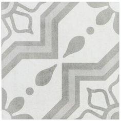 Ivy Hill Tile Sintra Silver Sky Encaustic 9 in. x 9 in. x Mate Porcelain Floor and Wall Tile pieces / sq. / - The Home Depot Outdoor Flooring, Outdoor Walls, Shower Floor, Tile Floor, Patchwork Tiles, Ceramic Subway Tile, Mediterranean Design, Encaustic Tile, Commercial Flooring