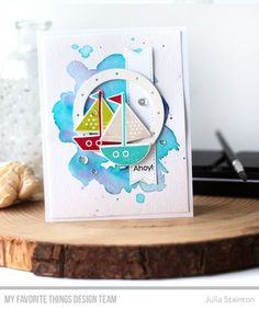 You Float My Boat stamp set and Die-namics, Ocean View Porthole Die-namics, Stitched Fishtail Sentiment Strips Die-namics - Julia Stainton #mftstamps