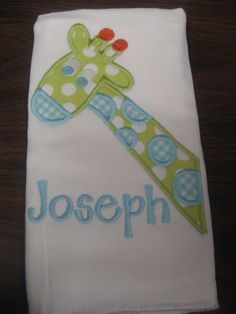 Joseph Gift Set Burp Cloth and Baby Bib Monogrammed Joseph FREE shipping. $22.00, via Etsy.