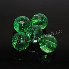 Acrylic Beads, Transparent green, Faceted round, Approx 12mm, Hole: Approx 2mm, 530 pieces per bag, Sold by bags