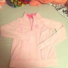 Victoria's Secret Pink Pullover HalfZip Sweatshirt Light Pink with darker pink accents and stitching. Stretch fabric as well. Excellent condition. PINK Victoria's Secret Tops Sweatshirts & Hoodies