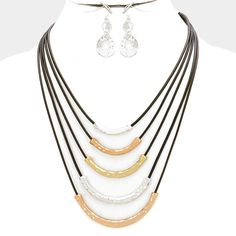 Women's Black & Multi-Layer Curved Hammered Bar Necklace + Earrings #Unbranded #MultiLayerNecklace