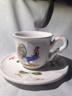 French faience de Pornic Rooster Espresso cup by VintagePurplePig