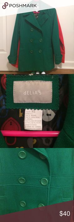 Delia's wool pea coat in Kelly green Worn 3x tops, such a wonderful staple, I just live in Florida so I never need it. Super cute, xs but would fit a small. No tips, stains, or tears. Wool, comes a little past my butt delia's Jackets & Coats Pea Coats