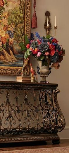 Decorative hall table and tapestry