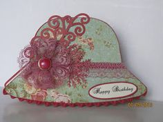 Ligaya's Creativity Zone: Hat Card - With Shabby Chic Lace Flowers