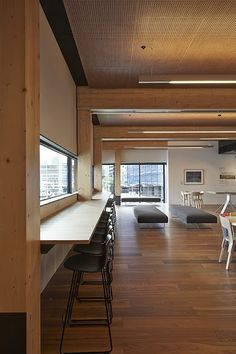 Navurban™ Coolum Spotted Gum at the Docklands Library Melbourne. Shown on the perforated acoustic ceiling panels.