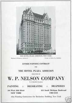 The Great Gatsby | Vintage (1922) Advertisement, Hotel Plaza, New York, NY