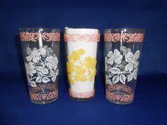 Hazel Atlas Beverage Glasses 3 -Yellow, Pink & White by WeBGlass on Etsy