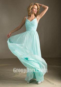Elegant Chiffon Light Blue Sleeveless Straps Long A-line Prom Dress