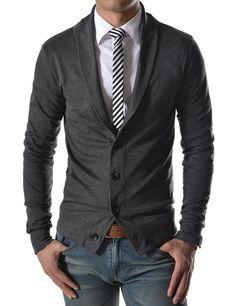 Charcoal Slim Fit Collar Cardigan