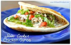 Slow Cooker Chicken Gyros with Tzatiki Sauce