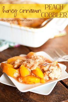 Honey Cinnamon Peach Cobbler #recipe by bunsinmyoven.com