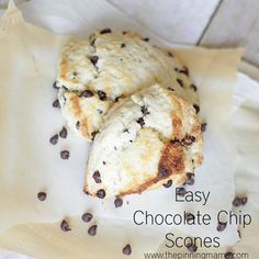 Tender, soft, thick and perfect chocolate chip scones.  This recipe is so EASY!