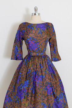 1950's Floral Silk Print Dress