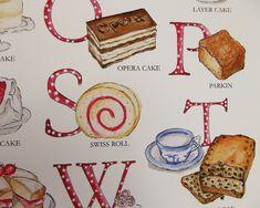 Opera Cake, Cake Art, A3, Wall Art Prints, Giclee Print, Alphabet, Etsy Shop, Cakes, Unique Jewelry