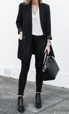 sheer white tee with black blazer for a professional look. shop similar tee on siizu.com