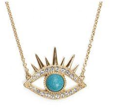 Faux Turquoise Diamond Eye Shaped Necklace