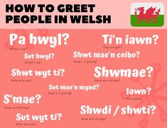 "Different ways of greeting people in Welsh with expressions similar to ""How are you"". To find out more, visit our article on We Learn Welsh. Wales Language, Learn Welsh, Welsh Words, Cymric, Foreign Language Teaching, How Are Things, Scotland Landscape, Welsh Dragon, Celtic Mythology"