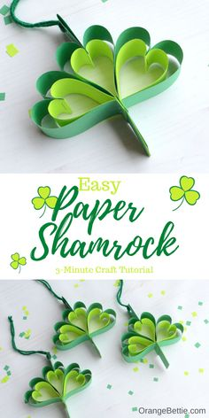 This easy paper shamrock makes a fun St. You can make one in 3 minutes (or less) using my tutorial. Great to make with kids! Thanksgiving Crafts, Holiday Crafts, Holiday Fun, Spring Crafts, Holiday Ideas, Quick Crafts, Fun Crafts, Valentine Crafts, Easter Crafts
