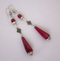 Repurposed Art Deco Ruby Red Earrings, Chandelier Earrings, Sterling Silver Dangle Earrings, Handmade OOAK Assemblage Jewelry JryenDesigns