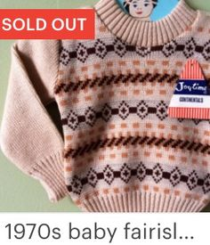 Vintage baby jumper / sweater. Fairisle 1970s