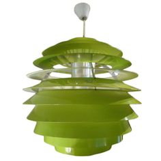 Poul Henningsen 'louvre' lamp, 1970s, Denmark.  The lacquered green color was a custom order at the time.