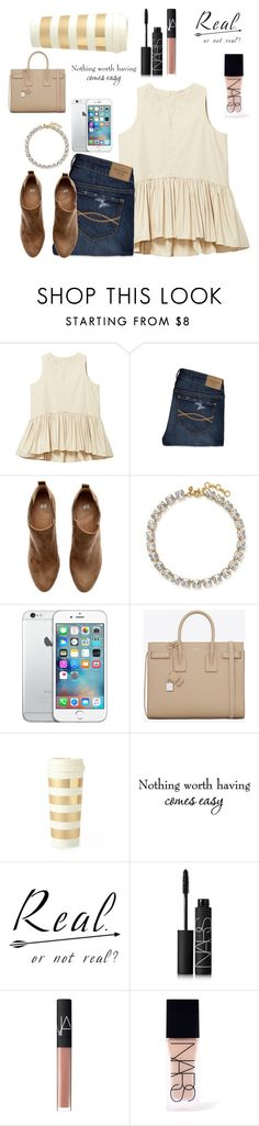 """Nothing Worth Having Comes Easy"" by lydia-hh ❤ liked on Polyvore featuring Mode, Abercrombie & Fitch, H&M, J.Crew, Yves Saint Laurent, Kate Spade und NARS Cosmetics"