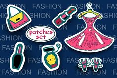 Fashion Patches Graphics Fashion Patches Set. Modern Pop Art Stickers. Dress,Nail Polish, Bag,Perfume,Lipstick. Vector Illust by GingerArt