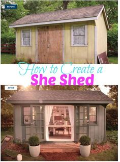 Add a bit of mulch, potted plants to our basic shed to create a She Shed. .  How to create your own She Shed!!