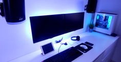 Black and white double monitor setup
